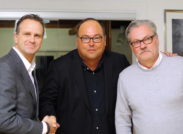 Jan Karlsson, Försäljnings- och Marknadsdirektör Svensk Elitfotboll, Peter Holm VD NeH och Peter Hultqvist, Key Account Manager NeH